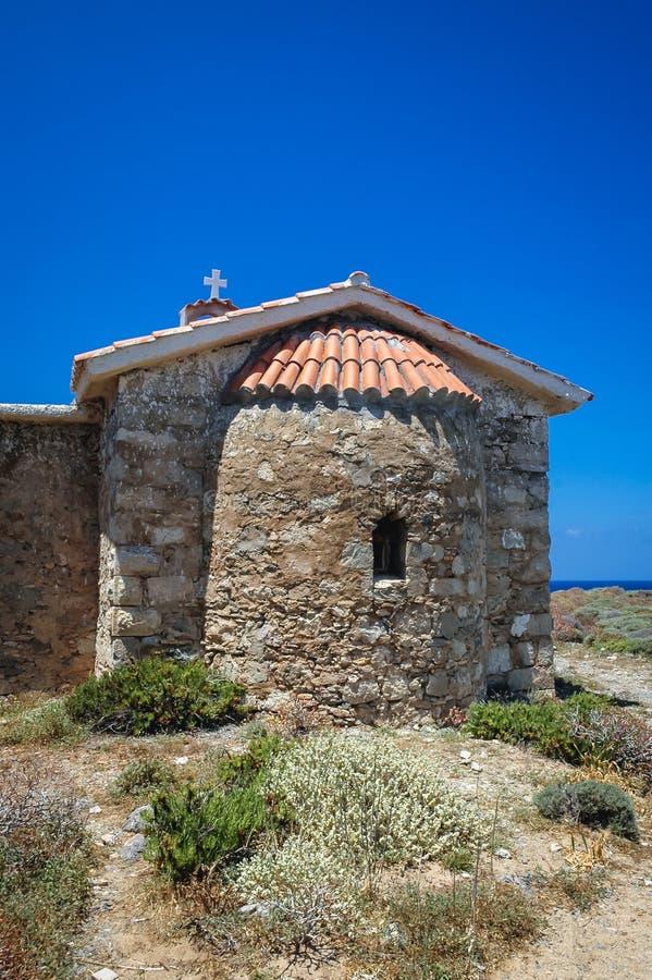 Chapel on Elafonisi island. Chapel of Saint Irene on Elafonisi island located close to the southwestern corner of the Mediterranean island of Crete, Greece royalty free stock photo