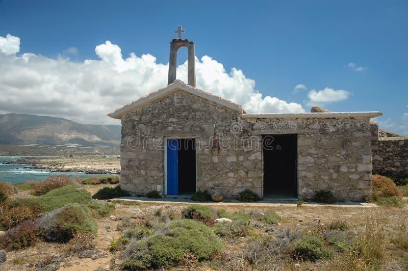 Chapel on Elafonisi island. Chapel of Saint Irene on Elafonisi island located close to the southwestern corner of the Mediterranean island of Crete, Greece stock images