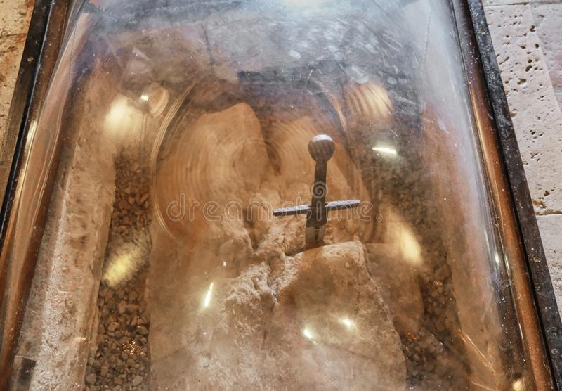 San Galgano sword Italy. In the chapel or Eremo or Rotonda di Montesiepi, the tomb of San Galgano and the site of his death 1181, the sword was planted in the royalty free stock photography