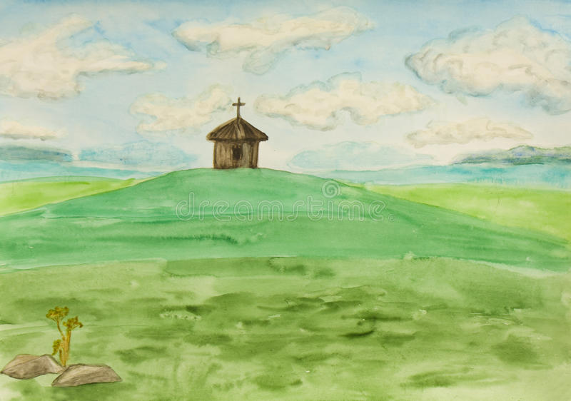 Chapel on field, painting stock photography
