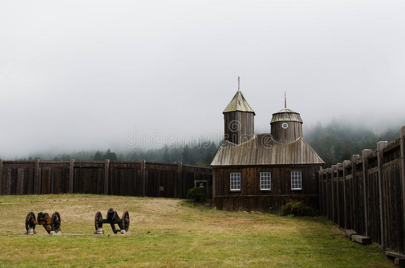 Chapel at Fort Ross in Sonoma County. Chapel at Fort Ross State Park, a former Russian-American trading post, on a foggy morning in Sonoma County, California stock photography