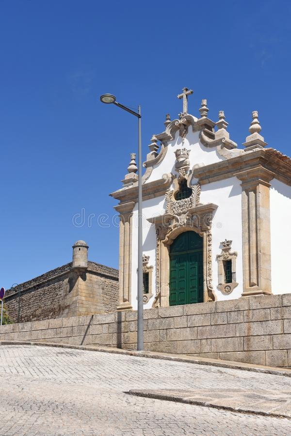 Chapel and fortress in Chaves,. Portugal royalty free stock image