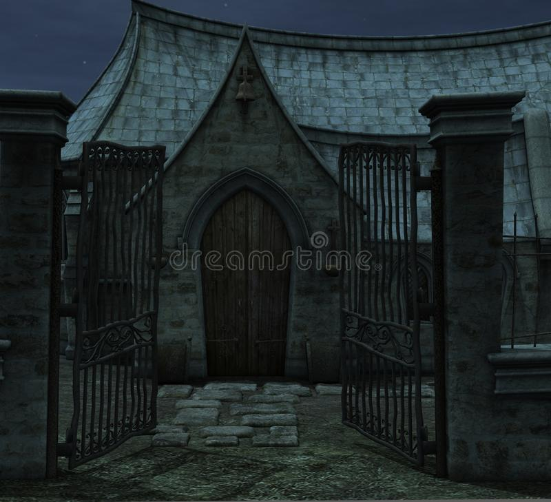 Download Chapel gates stock illustration. Image of spooky, church - 15978704