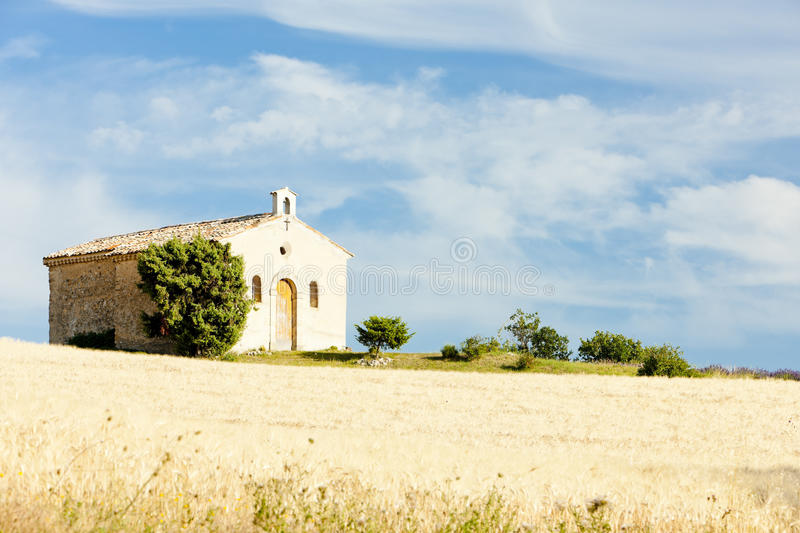 Download Chapel With Grain Field, Provence Stock Photo - Image: 23011998