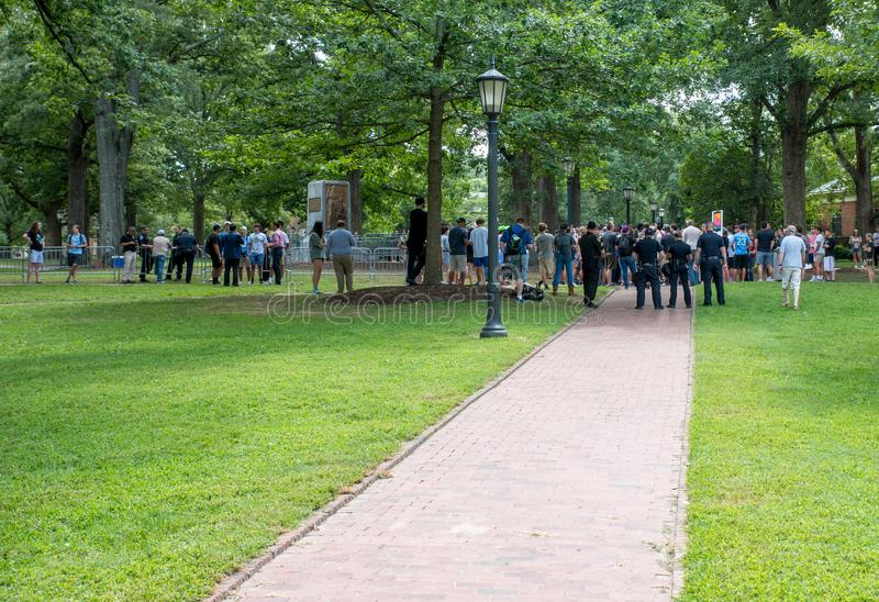 Chapel Hill North Carolina, United States-August 25, 2018-Demonstratiion at Silent Sam Statue, UNC Campus. Chapel Hill, NC/United States-August 25-2018 royalty free stock photography
