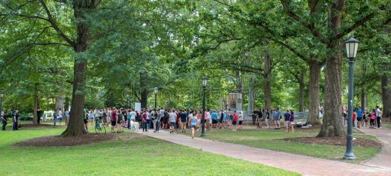 Chapel Hill North Carolina, United States-August 25, 2018-Demonstratiion at Silent Sam Statue, UNC Campus. Chapel Hill, NC/United States-August 25-2018 stock photos