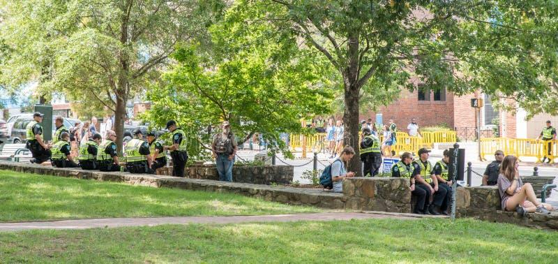 Chapel Hill North Carolina, United States-August 25, 2018-Demonstratiion at Silent Sam Statue, UNC Campus. Chapel Hill, NC/United States-August 25-2018 stock photo