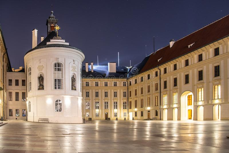 Chapel of the Holy Cross on Second Courtyard of Prague Castle by night, Prague, Czech Republic.  stock photography