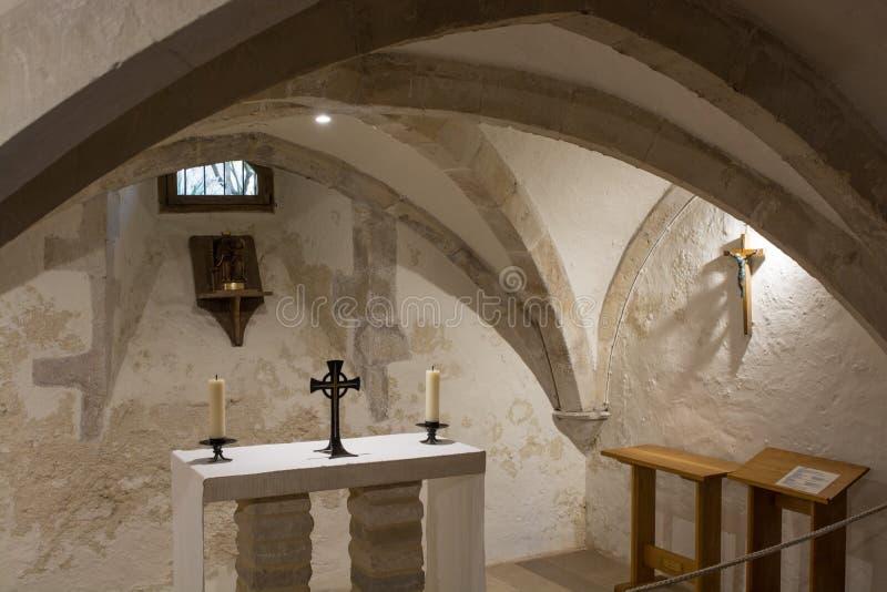 Chapel in Holy Trinity Church, Bosham, Sussex, England. Undercroft chapel in Holy Trinity Church at Bosham in West Sussex, England stock photography