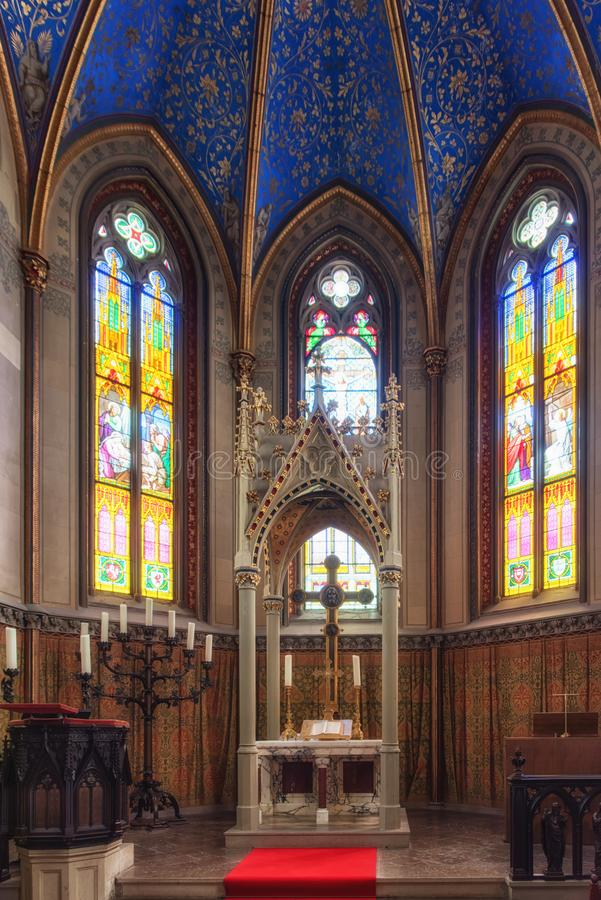 Chapel of the Hohenzollern castle in the Black Forest, Germany. Chapel interior at Hohenzollern Castle stock photography