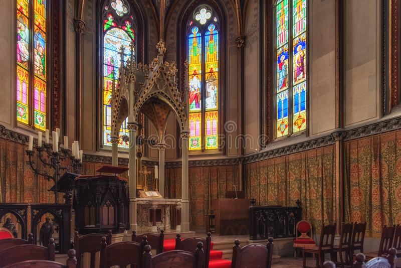 Chapel of the Hohenzollern castle in the Black Forest, Germany. Chapel interior at Hohenzollern Castle royalty free stock photos