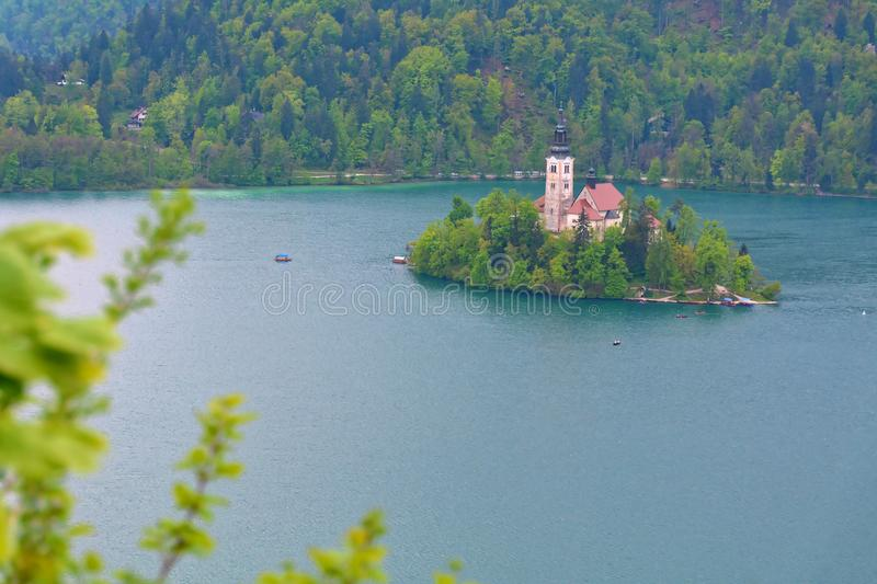 Bled Lake in Slovenia with the Assumption of Mary Church royalty free stock photos