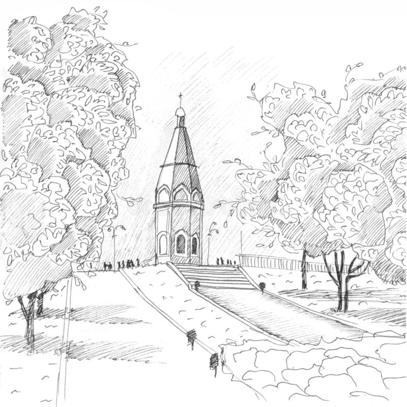Chapel in Krasnoyarsk black and white royalty free illustration