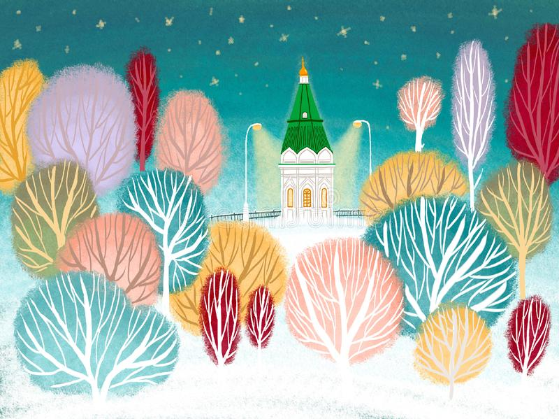 Chapel in Krasnoyarsk vector illustration