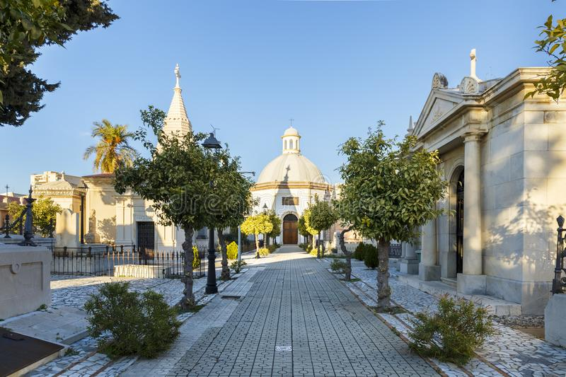 Chapel and mausoleums in a cemetery in Malaga Spain royalty free stock image