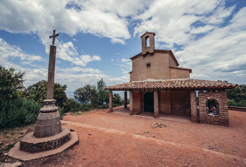 Chapel in Montserrat. Montserrat, Spain - May 25, 2015. Small chapel of Sant Miquel near Santa Maria de Montserrat Abbey in Montserrat mountains royalty free stock photos