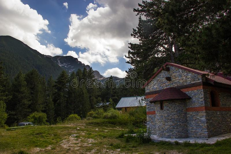 The chapel and the mountain royalty free stock photography