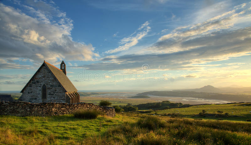Download Chapel near the coast stock image. Image of visitwales - 54928847
