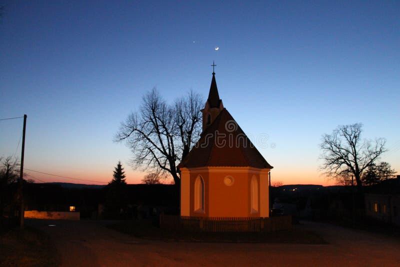 Chapel at night stock photo