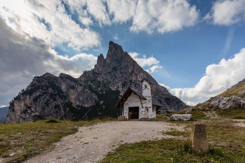 Chapel at Passo Falzarego stock photos
