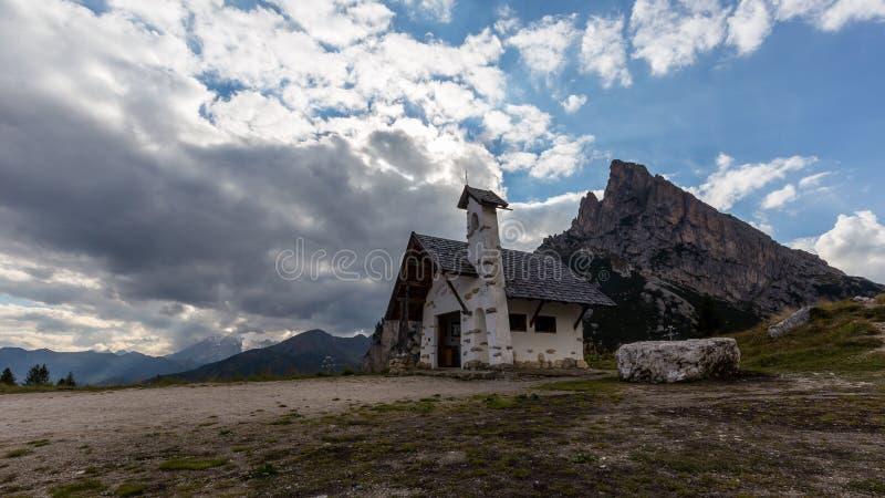 Chapel at Passo Falzarego royalty free stock photo