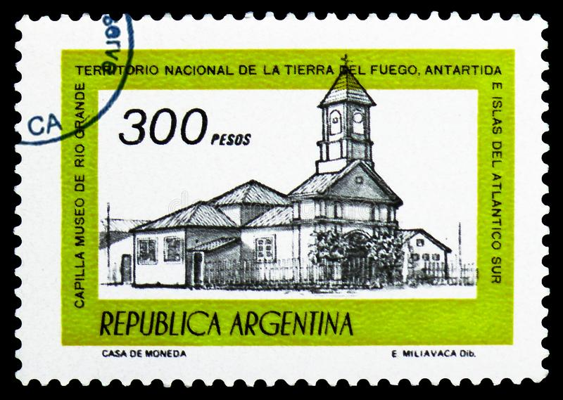 Chapel of Rio Grande Museum, Tierra del Fuego, Building definitives serie, circa 1979. MOSCOW, RUSSIA - MARCH 23, 2019: A stamp printed in Argentina shows Chapel stock image