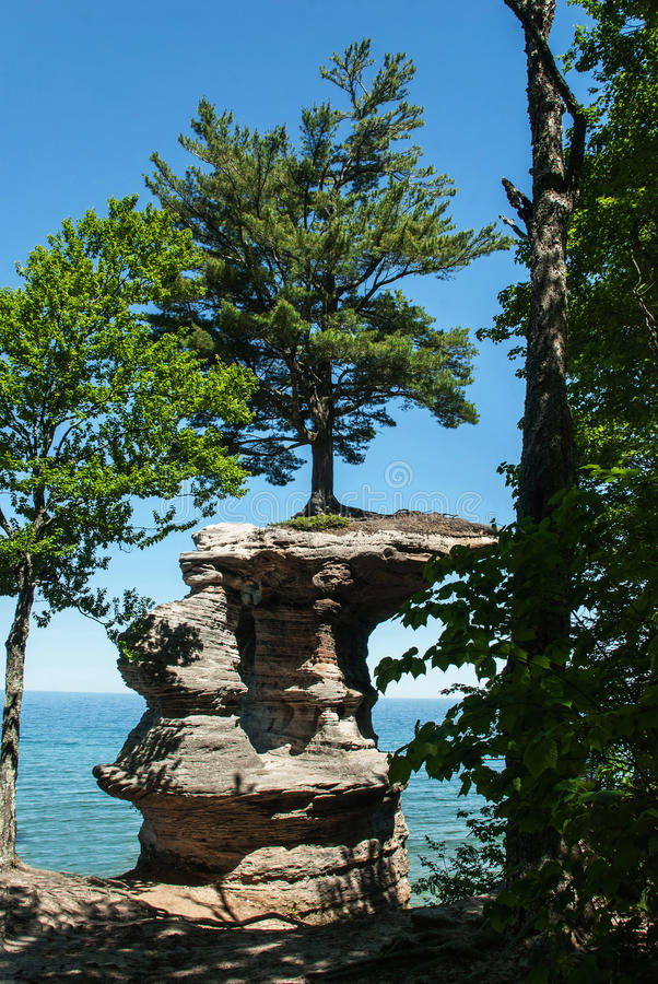 Chapel Rock, Pictured Rock National Lake Shore, Michigan, USA. Chapel Rock view from the coast, Pictured Rock National Lake Shore, Michigan, USA royalty free stock photography