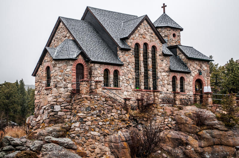 Chapel on the Rock Stone Chruch - Estes Park. Chapel on the Rock is a historic Stone Chruch located near Estes Park Colorado in the Rocky Mountains stock images