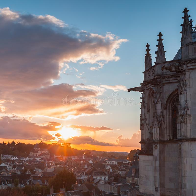 Chapel of Saint-Hubert at sunset, Amboise. Exterior of the chapel of Saint-Hubert and sunset in the old town of Amboise located in the Indre-et-Loire department royalty free stock photography