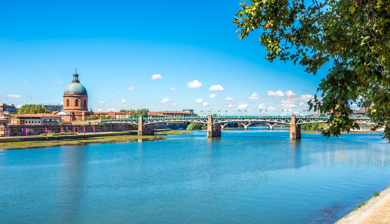 Chapel of Saint Joseph with Garonne river in Toulouse royalty free stock image