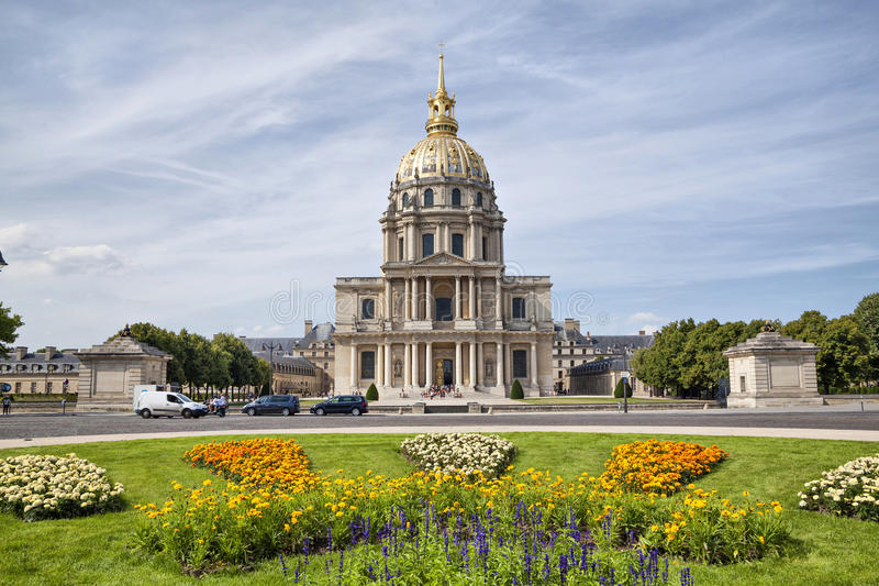 Chapel of Saint Louis des Invalides. With flowerbed on the front view, Paris, France stock image