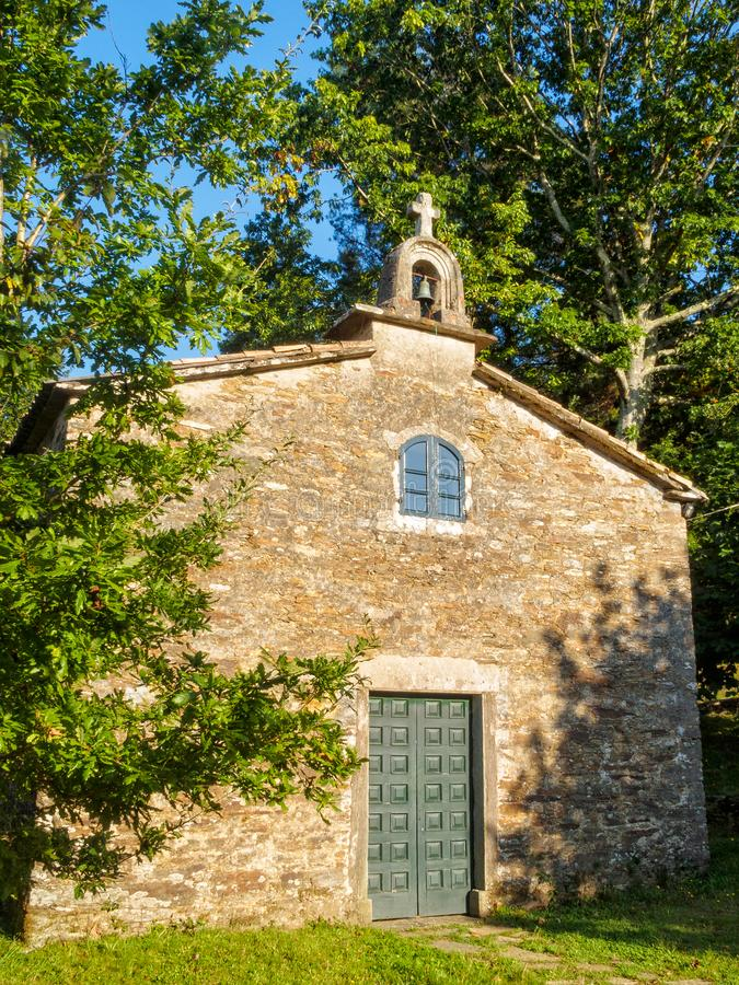 Chapel and sanctuary - Santa Irene. Chapel and sanctuary under beautiful oak trees - Santa Irene, Galicia, Spain royalty free stock photography