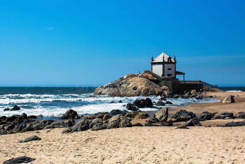 Chapel Senhor da Pedra on Miramar Beach, Vila Nova de Gaia royalty free stock photo