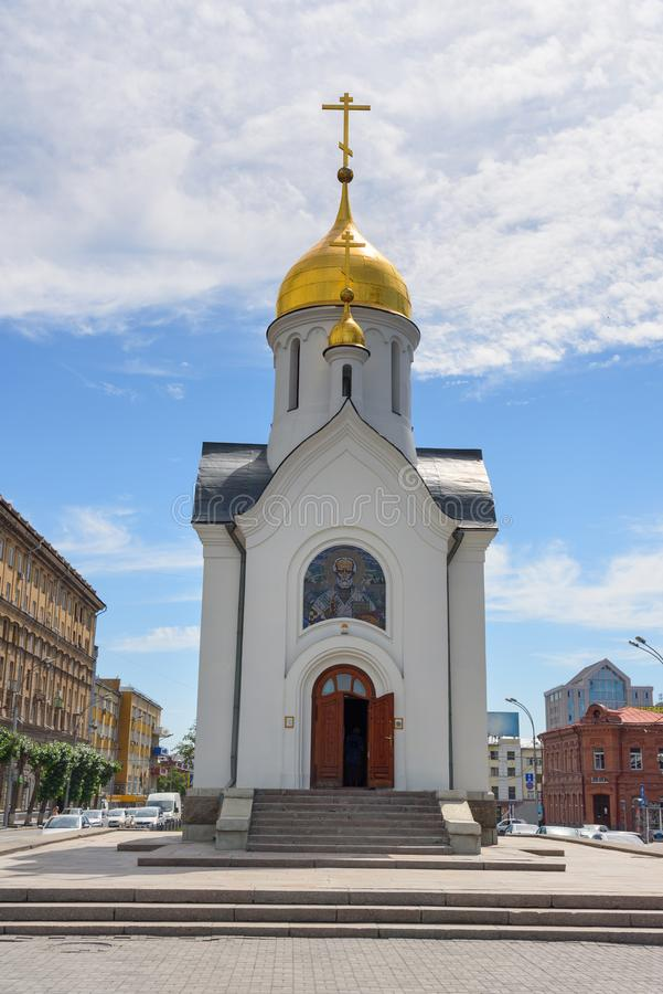 Chapel of St. Nicholas in Novosibirsk. Russia stock photography