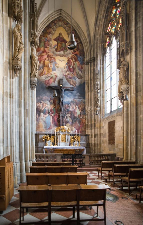 Chapel in St Stephens Vienna. St. Stephen`s Cathedral is the mother church of the Roman Catholic Archdiocese of Vienna and the seat of the Archbishop of Vienna stock images