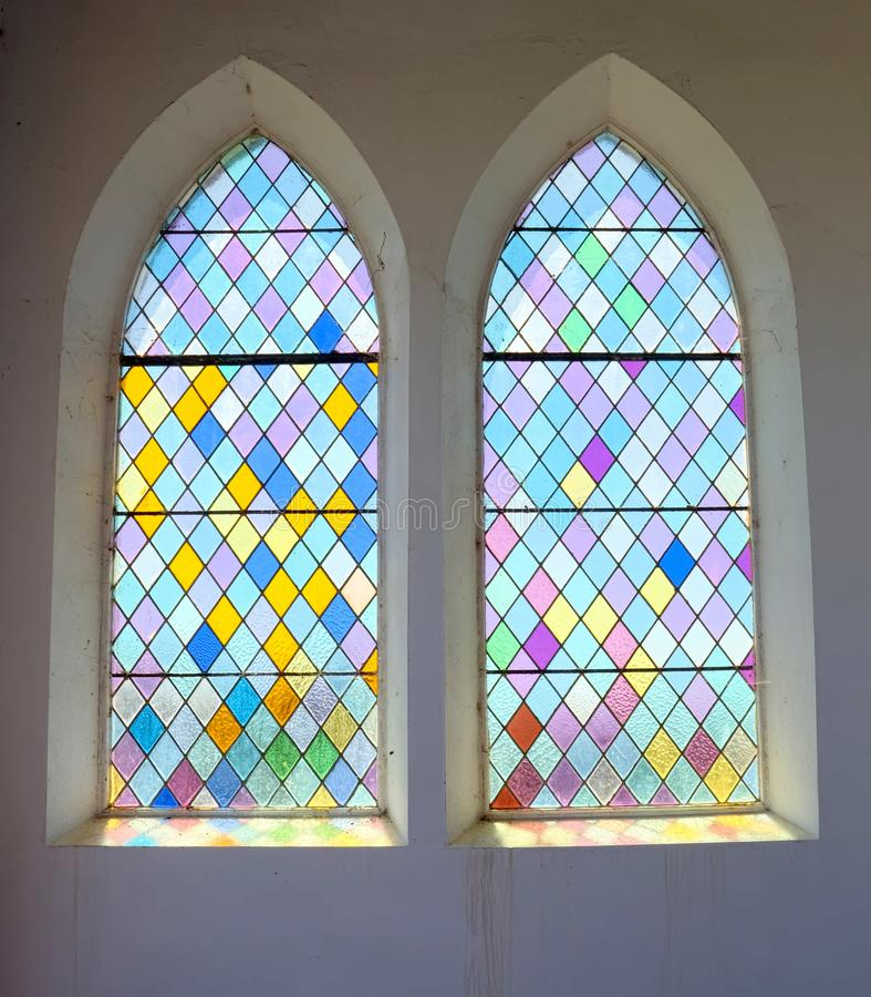 Chapel stained glass windows Seaford, Sussex. UK stock image