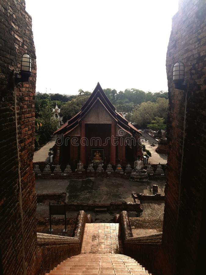 The Chapel of Temple in Ayutthaya, Thailand. Travel, sky, cloud, tree, buddha royalty free stock images