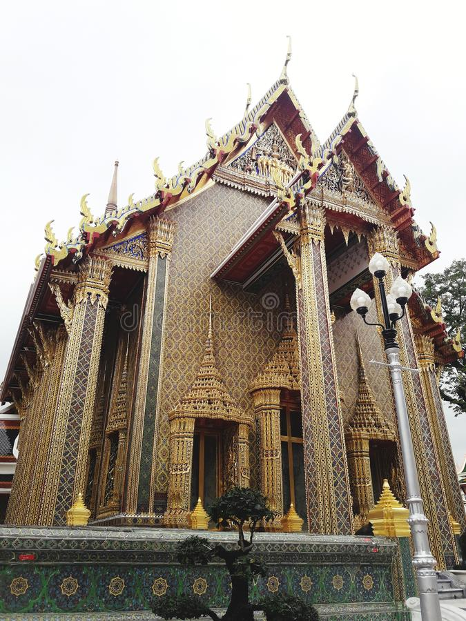 The Chapel of Temple in Bangkok, Thailand. Buddha, building, historic, wat, golden, sky, art, travel stock photography