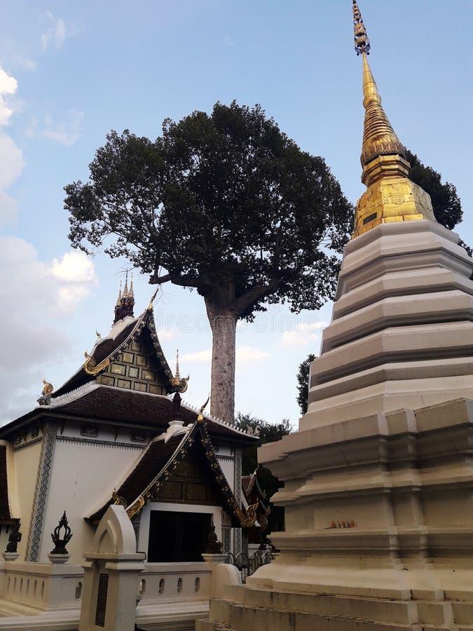 The Chapel of Temple in Chaing mai, Thailand. Pagoda, stupa, buddha, sky, cloud, golden stock photo