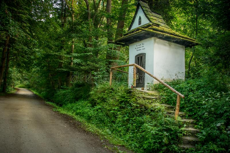 Chapel at the top in KoÅ›cienko nad Dunajcem. Kroscienko on the Dunajec - the chapel of St. Kinga on one of the tourist routes in Poland stock photo