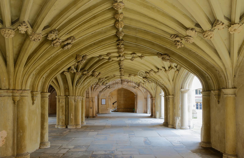 The Chapel Undercroft Lincolns Inn London. Architecture details - Lincolns Inn vaulted ceiling. The Honourable Society of Lincoln's Inn is one of four Inns of royalty free stock photos