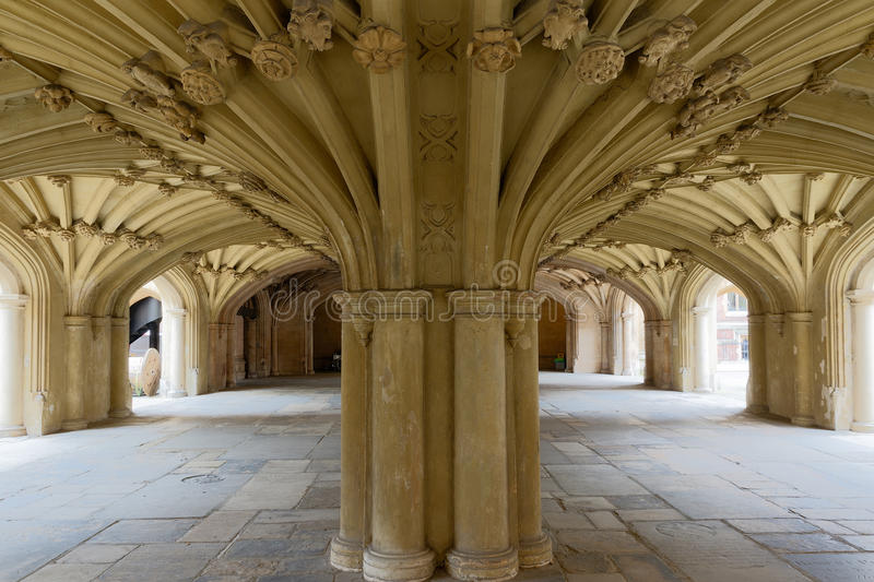 The Chapel Undercroft Lincolns Inn London. Architecture details - Lincolns Inn vaulted ceiling. The Honourable Society of Lincoln's Inn is one of four Inns of stock image