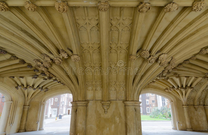 The Chapel Undercroft Lincolns Inn London. Architecture details - Lincolns Inn vaulted ceiling. The Honourable Society of Lincoln's Inn is one of four Inns of royalty free stock photography