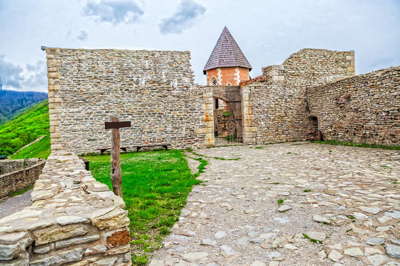 Chapel and walls on Medvedgrad castle. In Zagreb, Croatia royalty free stock photos