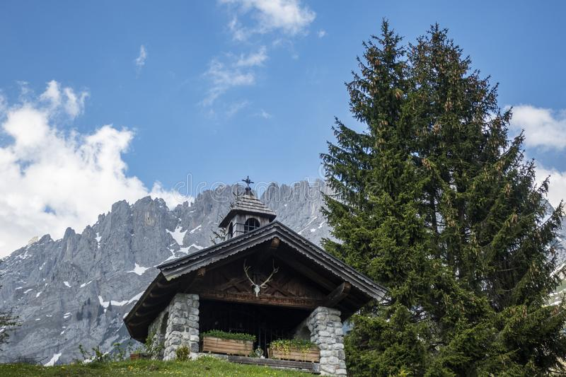 Chapel at the wilder kaiser mountain. Chapel in the wilder kaiser mountains stock photos