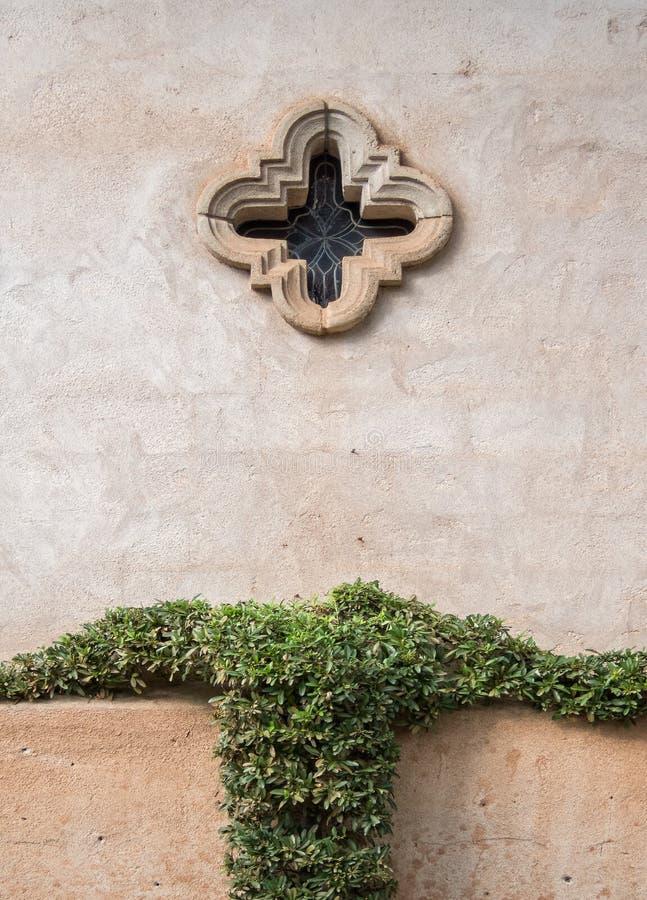 Chapel window, Tlaquepaque in Sedona, Arizona. Old Mexico architecture, Tlaquepaque Arts and Crafts Village royalty free stock photos