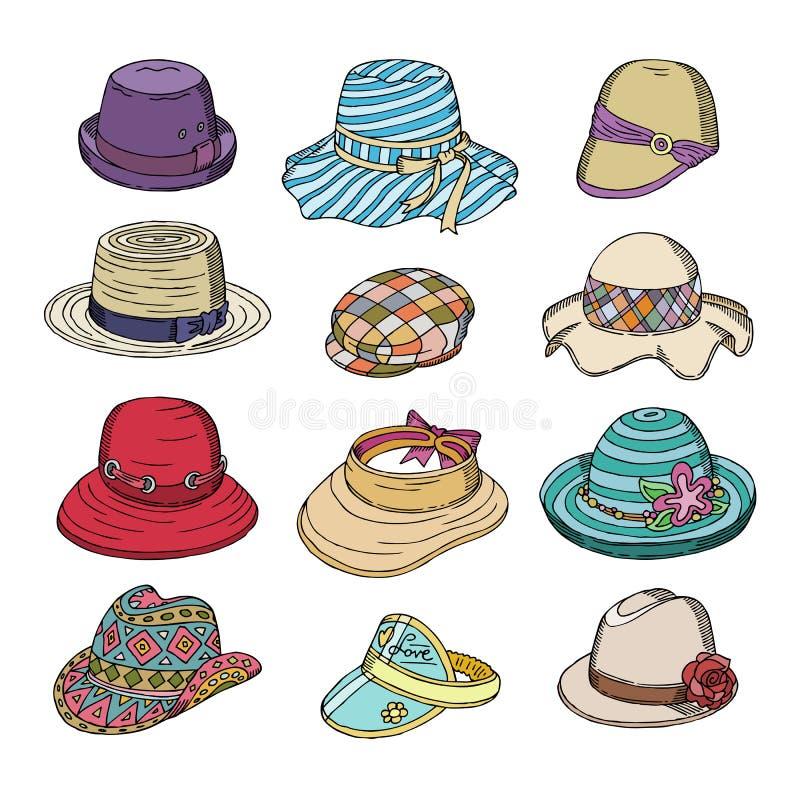 A chapelaria da roupa de forma do vetor do chapéu da mulher ou o headwear e os auriculares acessórios elegantes fêmeas da ilustra ilustração royalty free