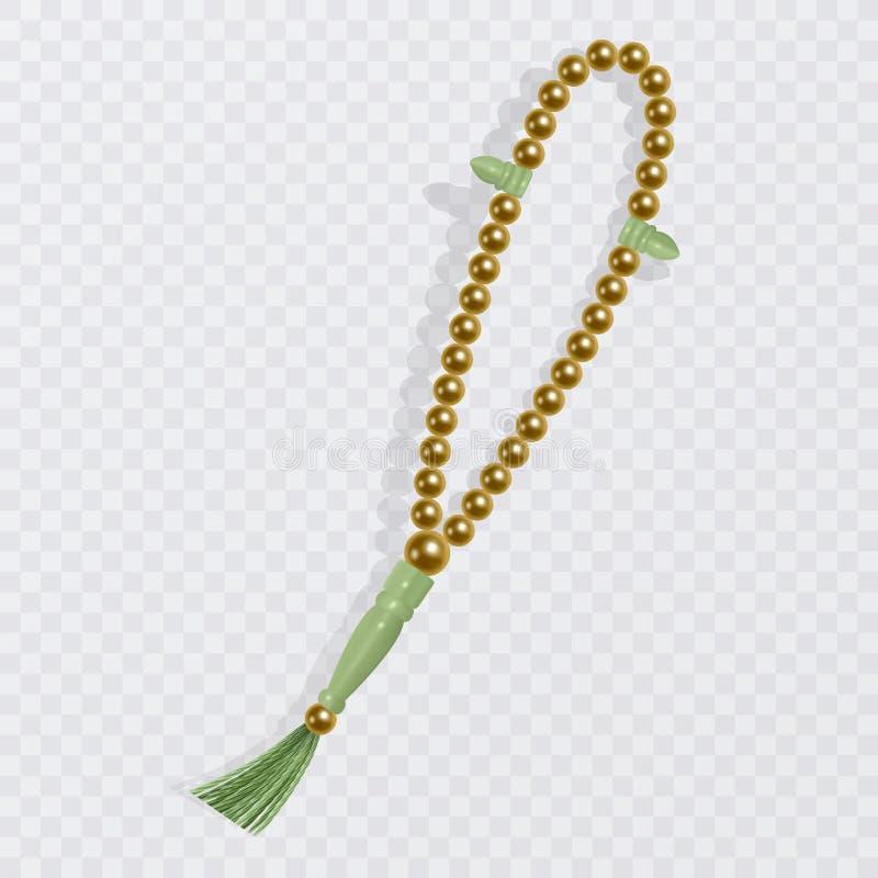 Chapelet d'isolement sur le fond blanc, illustration islamique de vecteur de chapelet Perles de prière réalistes, élément de conc illustration stock
