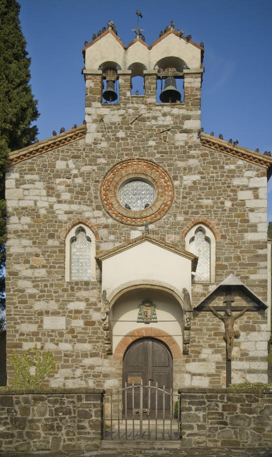 Chapell. Facade of the Chappel of the Holy Spirit on the Castle Hill (Capella de S. Spirito). Gorizia, Italy. Built on 1398 stock images