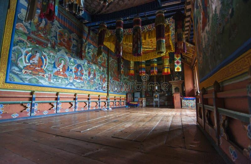 Chapelle bouddhiste de Jakar Dzong, vallée de Bumthang, Bhutan photo libre de droits